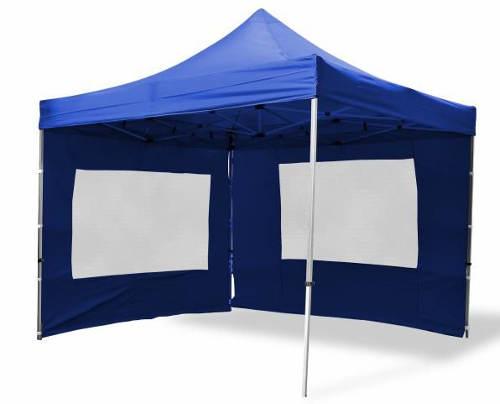 Modrý nůžkový párty stan PROFI 3x3 m + 2 boční stěny
