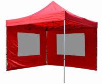 Sytě červený nůžkový párty stan 3x3 s bočnicemi