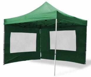 Zlevněný zahradní párty stan nůžkový 3x3 m zelené barvy