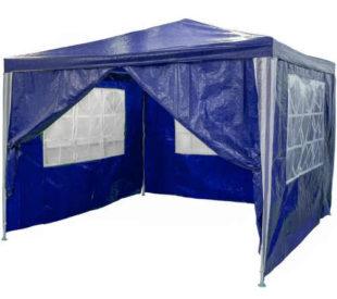 Modrý zahradní párty stan 3 x 3 m + 4 boční stěny