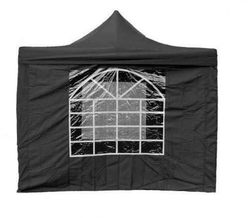 Černý párty stan 3x3 m s velkým oknem