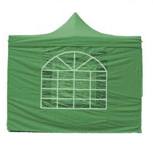 Zelený párty stan 3x3 m s velkým oknem
