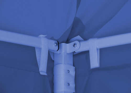 Způsob uchycení střechy a bočnic na konstrukci stanu