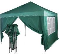 Praktický zelený nůžkový zahradní párty stan se dvěma bočnicemi