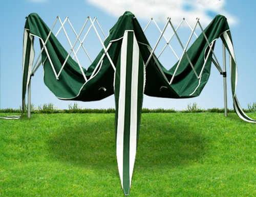 Zelený párty stan 3 x 3 m nůžkovou konstrukcí