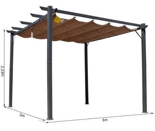 Hlinková pergola na zahradu s látkovou střechou