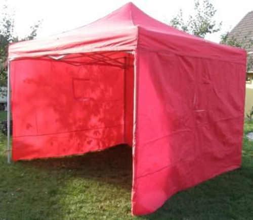 Červený skládací prodejní stánek se 4 bočními stěnami