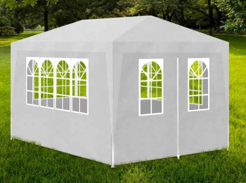 Levný bílý zahradní párty stan s obdélníkovým půdorysem 3 x 4 metry