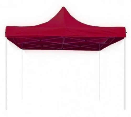 Tmavě červený nůžkový párty stan 3 x 3 m bez bočnic
