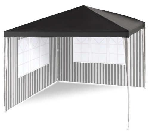 Zahradní párty stan 3 x 3 m s pruhovanýma černobílými bočními stěnami
